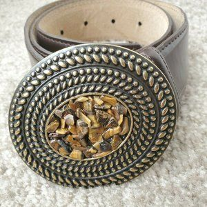 VTG Small Brown Leather Oval Stone Center Belt